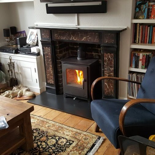 Old fireplace, replaced with an Eco Wood burning stove