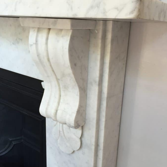 Victorian Corbel Fireplace Mantelpiece with cast-iron insert on display in the casa fireplace shop London