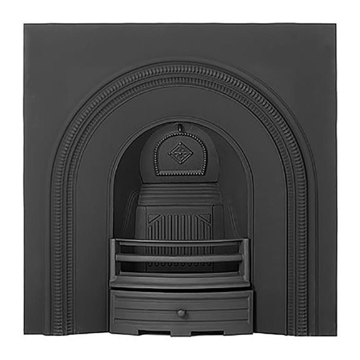 Lyndhurst cast-iron fireplace insert with black finish.